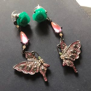 Betsey Johnson Butterfly & Floral Earrings